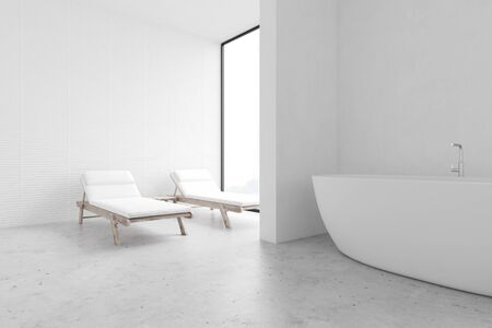 Corner of spacious spa bathroom with white walls, concrete floor, comfortable bathtub and two massage benches near the window. Concept of relaxation and luxury resort. 3d rendering