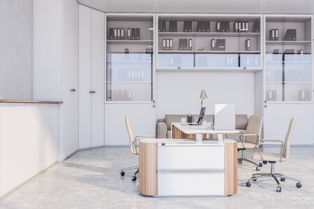 Interior of stylish boss office with white walls, concrete floor, white table with beige chairs, wardrobes and comfortable sofa near bookcase. 3d rendering