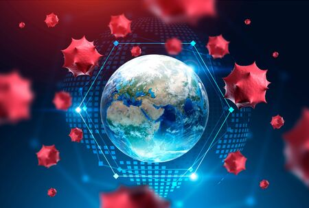 Red virus cells over planet Earth and its blurry hologram. Concept of coronavirus and cure search. Immunology and healthcare. 3d rendering toned image.