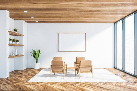 Interior of panoramic office lounge with white walls, wooden floor and ceiling, beige armchairs standing near coffee table and windows with blurry view. Horizontal mock up poster. 3d rendering