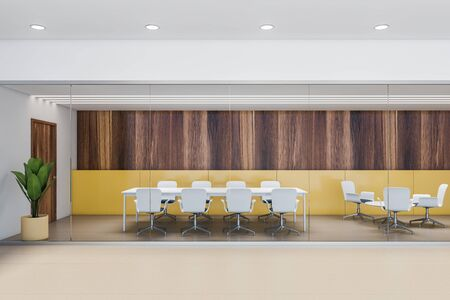 Interior of stylish office conference room with yellow and wooden walls, beige tiled floor, long white table with chairs and round table next to it. 3d rendering 免版税图像