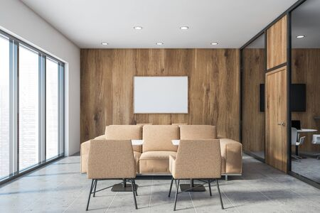 Interior of stylish office lounge area with gray, white and wooden walls, tiled floor, comfortable beige sofas and armchairs and square tables. Horizontal mock up poster frame. 3d rendering Stok Fotoğraf