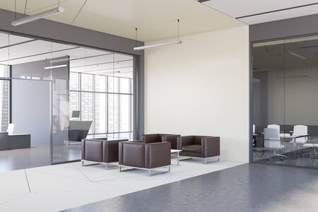 Corner of stylish office waiting room with white walls, concrete floor, leather armchairs standing on white carpet and meeting room in background. 3d rendering