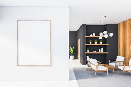 Spacious living room interior with grey walls, white floor and ceiling, comfortable armchairs near coffee table and shelves with vases and plants. Vertical mock up poster frame. 3d rendering