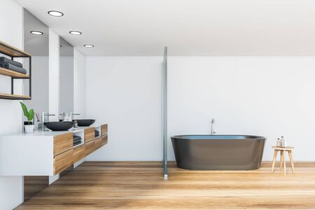 Side view of luxury bathroom with white and glass walls, wooden floor, comfortable bathtub and round double sink standing on wooden countertop. 3d rendering Reklamní fotografie