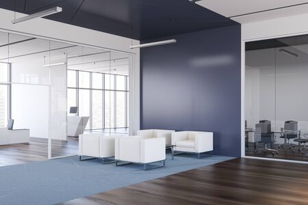Corner of stylish office waiting room with blue walls, wooden floor, white armchairs standing on blue carpet and meeting room in background. 3d rendering