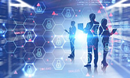Silhouettes of engineers working in blurry data center with double exposure of futuristic cyber security interface. Concept of data protection. Toned image