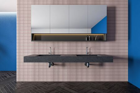 Interior of spacious bathroom with blue and pink tile walls, black wooden floor, stone double sink and cabinet with mirror above it. 3d rendering