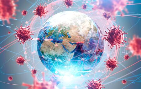 Coronavirus Asian flu ncov over Earth background and its blurry hologram. Concept of cure search and global world. 3d rendering toned image.