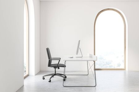 Interior of minimalistic CEO office with white walls, concrete floor, white and black computer table and arched window with blurry scenery. Concept of management. 3d rendering 免版税图像