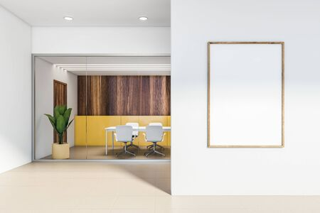 Interior of stylish office conference room with yellow and wooden walls, beige tiled floor, long white table with chairs and vertical mock up poster frame in business center hall. 3d rendering