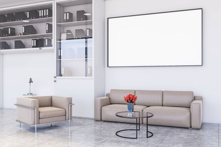 Beige sofa and armchair standing in modern office waiting room corner with white walls, concrete floor, comfortable round coffee table and horizontal mock up poster. 3d rendering Stok Fotoğraf