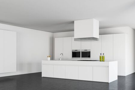 Corner of stylish minimalistic kitchen with white walls, concrete floor, comfortable island with sink and cooker and two built in ovens. 3d rendering