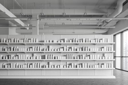 Interior of modern supermarket or warehouse with white shelves with products in blank boxes and bottles. Concept of retail and storage. 3d rendering 版權商用圖片