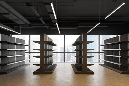 Side view of industrial style supermarket or warehouse with empty grey shelves, concrete floor and panoramic windows. Concept of consumerism and storage. 3d rendering 版權商用圖片