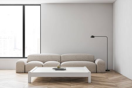 Interior of minimalistic living room with white walls, wooden floor, comfortable white sofa standing near Japanese style coffee table and window with blurry cityscape. 3d rendering