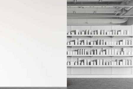 Interior of modern supermarket or warehouse with white shelves with products in blank boxes and bottles and mock up wall to the left. Concept of advertising. 3d rendering
