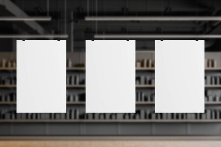 Three vertical mock up posters hanging in blurry supermarket or warehouse with grey walls and concrete floor. Concept of advertising and sale. 3d rendering