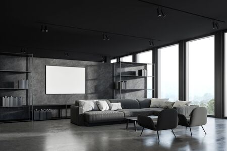 Corner of panoramic office waiting room with dark grey walls, concrete floor, comfortable gray sofa with armchairs near coffee table and horizontal mock up poster near bookshelves. 3d rendering