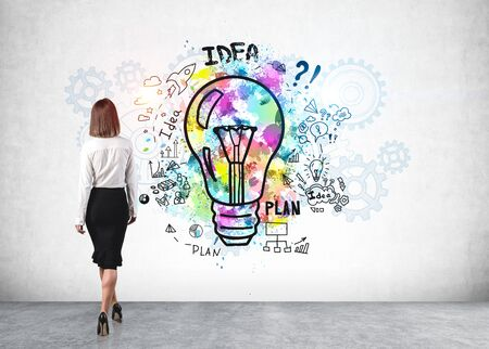 Rear view of young European businesswoman looking at colorful business idea sketch drawn on concrete wall. Concept of planning and creativity Stockfoto