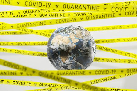 Yellow coronavirus 2019 ncov covid 19 quarantine tape around Earth. Pandemic and healthcare concept. 3d rendering blurry image.