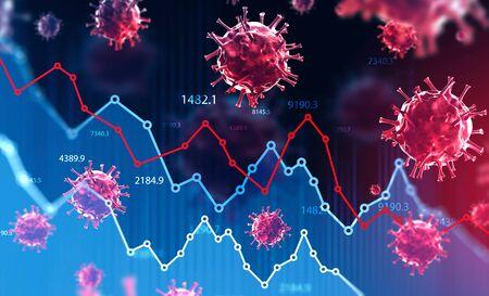 Ncov 2019 Covid 19 Coronavirus mit Doppelbelichtung von verschwommen fallenden Finanzdiagrammen. Konzept der Finanzkrise aufgrund der Coronavirus-Pandemie. 3D-Rendering