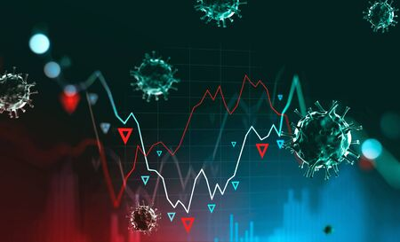Digital stock market falling graph and blurry coronavirus. Concept of stock market crash due to covid 19 coronavirus pandemic. 3d rendering toned image double exposure Foto de archivo