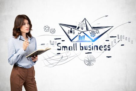 Serious young businesswoman with dark wavy hair and notebook standing near concrete wall with creative small business sketch drawn on it. Concept of business strategy and education