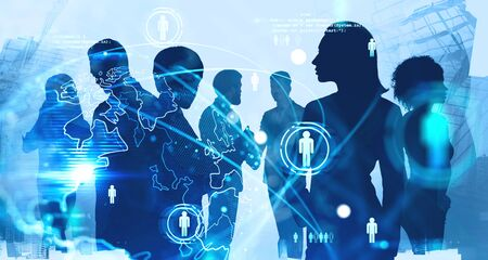 Silhouettes of diverse business people working together in abstract city with double exposure of blurry social network interface. Concept of HR. Toned image