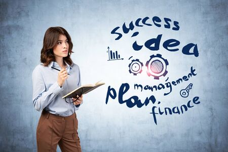 Beautiful young businesswoman with notebook looking at creative business idea sketch drawn on concrete wall. Concept of success, business education and planning Stockfoto