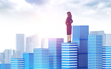 Rear view of confident young European businesswoman standing on skyscraper roof and looking at sunlit city. Concept of leadership. Toned image Stock fotó
