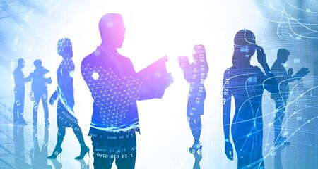 Silhouette of businessman with clipboard and his teammates working together in abstract city with double exposure of blurry internet interface. Concept of network and business team. Toned image
