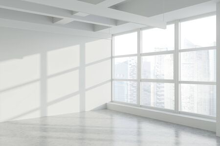 Empty white wall in panoramic industrial style office corner with concrete floor and window with blurry cityscape. Concept of real estate. 3d rendering Imagens