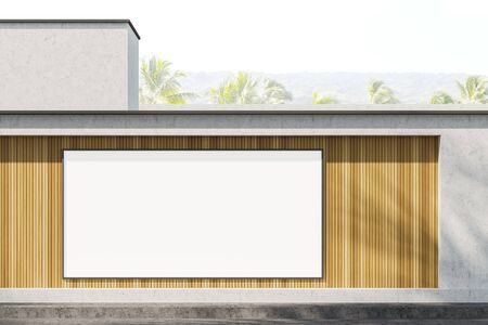 Big horizontal mock up poster frame hanging on wooden and stone building wall with blurry tropical view in background. Concept of advertising. 3d rendering Stock Photo