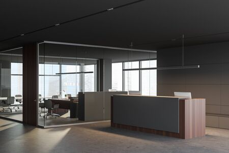 Corner of panoramic office hall with gray and glass walls, comfortable reception desk and meeting room with open space office in background. Blurry cityscape. 3d rendering Stockfoto