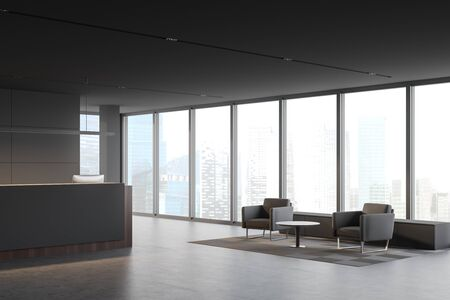 Corner of panoramic corporate office with gray walls, comfortable grey and wooden reception desk with two computers, armchairs in waiting room and windows with blurry cityscape. 3d rendering