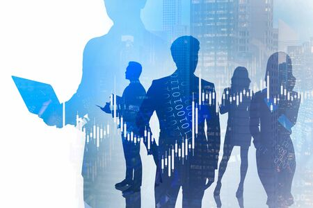 Silhouette of businessman using laptop in blurry night city with his teammates and double exposure of financial chart and HUD interface. Concept of trading and hi tech. Toned image