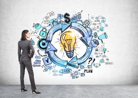 Rear view of confident young European businesswoman looking at creative business idea sketch drawn on concrete wall. Concept of planning and business strategy development