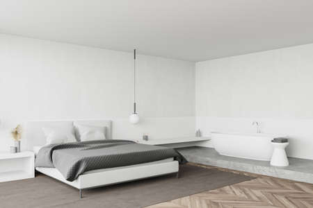 Corner of modern bedroom with white walls, wooden floor, comfortable king size bed with two bedside tables and cozy bathtub. 3d rendering