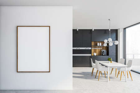 Interior of stylish kitchen with white and wooden walls, comfortable black countertops, vertical mock up poster, white dining table with chairs and balcony with blurry cityscape. 3d rendering
