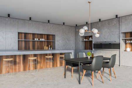 Corner of modern kitchen with stone and wooden walls, tiled floor, comfortable countertops, bar with stools and gray dining table with chairs. 3d rendering Reklamní fotografie