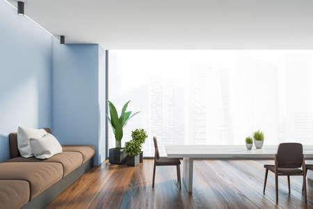 Interior of panoramic dining room with blue walls, wooden floor, long table with brown chairs and long comfortable sofa with white cushions. Window with blurry cityscape. 3d rendering