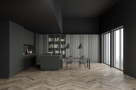 Interior of stylish kitchen with gray and wooden walls, wooden floor, gray countertops, comfortable island, dining table and bookcase. Blurry tropical view. 3d rendering