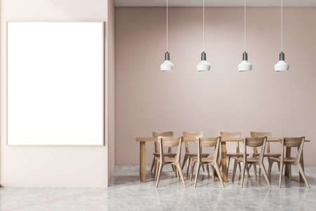 Interior of modern office cafe with pink walls, concrete floor, dining table with wooden chairs and vertical mock up poster. 3d rendering