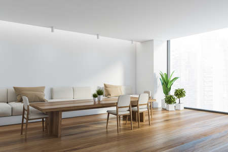 Corner of panoramic dining room with white walls, wooden floor, long table with white chairs and long comfortable sofa with beige cushions. Window with blurry cityscape. 3d rendering