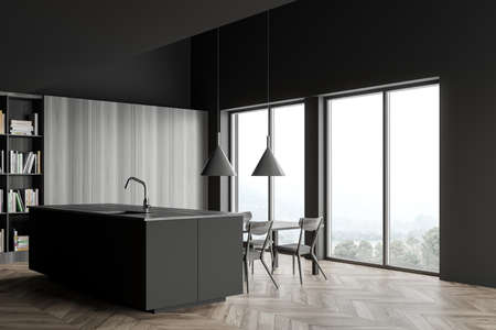 Corner of stylish kitchen with gray and wooden walls, wooden floor, gray countertops, comfortable island, dining table and bookcase. Blurry tropical view. 3d rendering