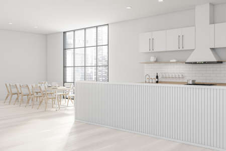 Corner of stylish kitchen with white walls, wooden floor, white and wooden island and long dining table with chairs standing near window with blurry cityscape. 3d rendering