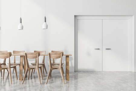 Interior of stylish office cafe with white walls, concrete floor, long dining table with wooden chairs and big doors. 3d rendering Reklamní fotografie