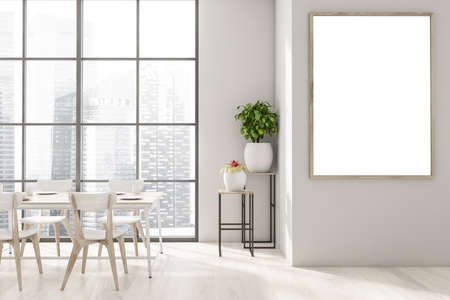 Interior of modern panoramic dining room with beige walls, wooden floor, long wooden table with white chairs and big window with blurry cityscape. Vertical mock up poster fame. 3d rendering