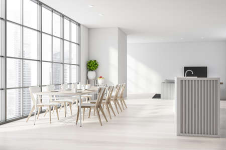 Interior of panoramic kitchen with white walls, wooden floor, long dining table with white chairs, comfortable island and TV set with sofa in living room area. Blurry cityscape. 3d rendering